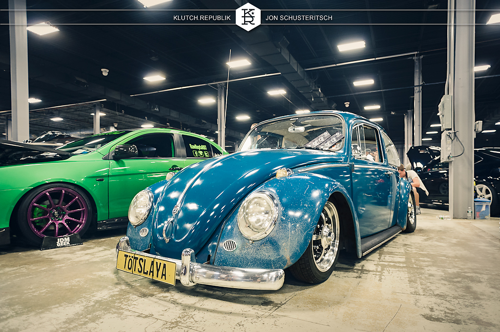 blue aircooled vw bettle at wekfest east 2012 new jersey convention center 3pc wheels static airride low slammed coilovers stance stanced hellaflush poke tuck negative postive camber fitment fitted tire stretch laid out hard parked seen on klutch republik