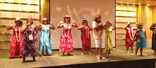 <p>Members of Hawai'i Community College's Unukupukupu take the stage at a reception for IUCN's World Conservation Congress.</p>