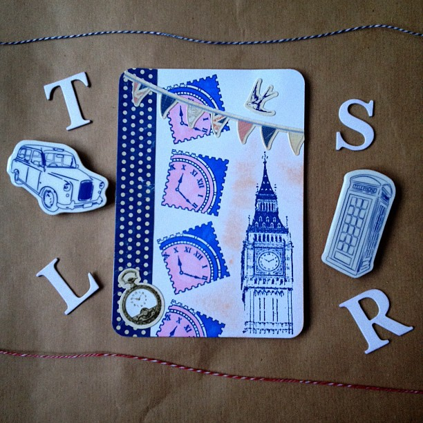 A #british themed range of postcards #rubberstamp #bigben #clock #london #bunting #stamp #bird polkadots #blue #pink #red I will be using the same background for all as its getting dark far too quickly now