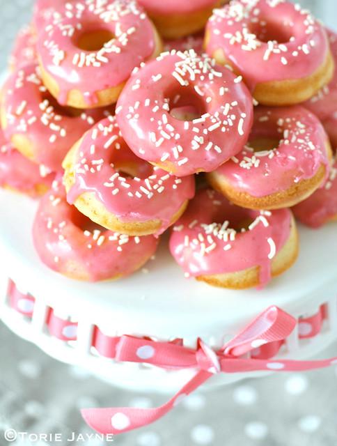 Baked nectarine doughnuts, raspberry glaze, white chocolate sprinkles
