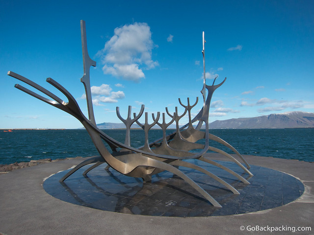 Sculpture of a viking ship in Reykjavik, Iceland