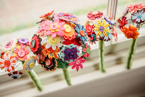DIY Felt flower bouquets made by the bride