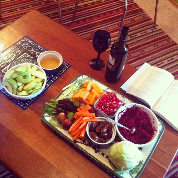 Rosh hashanah Seder featuring the new blessing: lettuce have a raisin celery. Shanah Tovah!