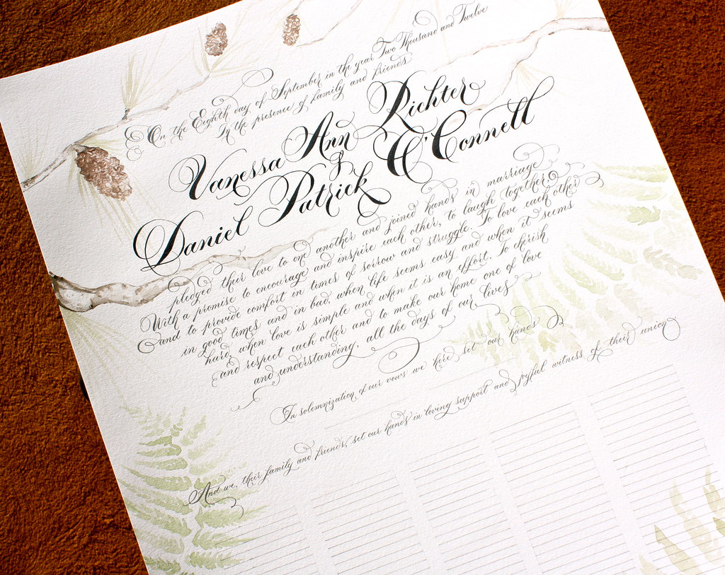 Woodsy Themed Quaker Wedding Certificate Danae Flickr