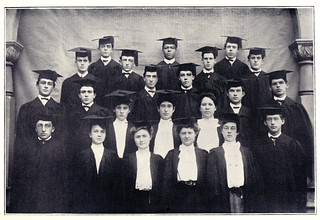 Winston Dickson 1904 (middle of the top row), Pomona's first Black graduate, in a photo from the 1905 Metate