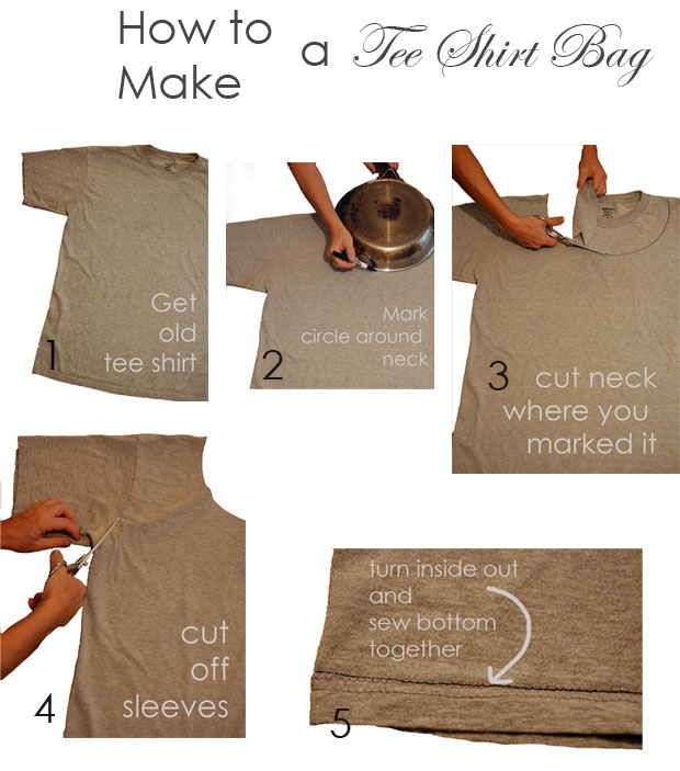 make a shopping bag out of a t shirt then take it once