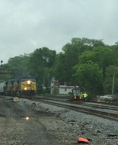 CSX train on a rainy day