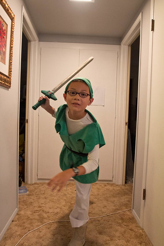 DIY Link costume: lunging