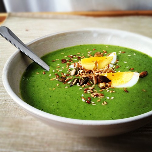 Pea and watercress soup with boiled egg and tamar-toasted seeds.