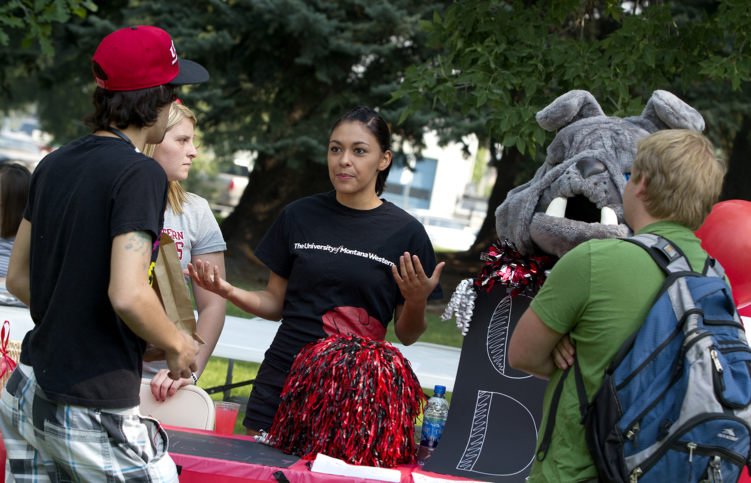 students talking at the annual welcome fair