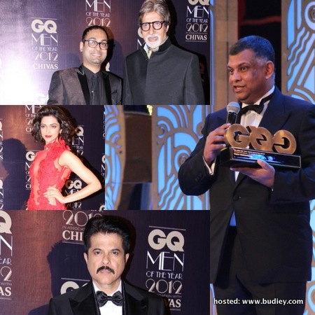 photo 1 - Tony Fernandes presenting a speech upon receiving GQ India's 'International Businessman of the Year Award. Also present were (top to bottom) Amitabh Bachan, Deepika Padukone and Anil Kapoor