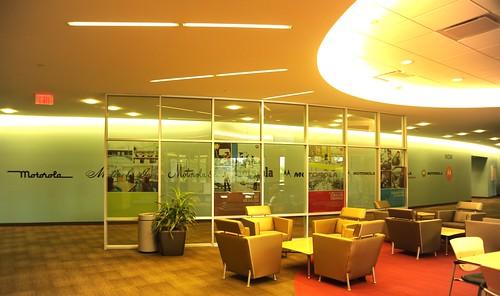 Motorola lounge, circular light, armchairs and tables, Schaumburg, Illinois, USA by Wonderlane