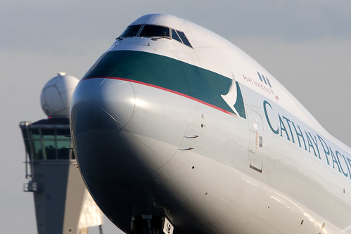 Cathay Pacific 747 kissing Schiphol ATC Tower