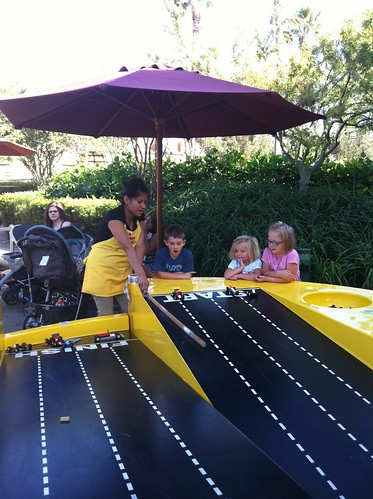 Racing Lego cars at Downtown Disney