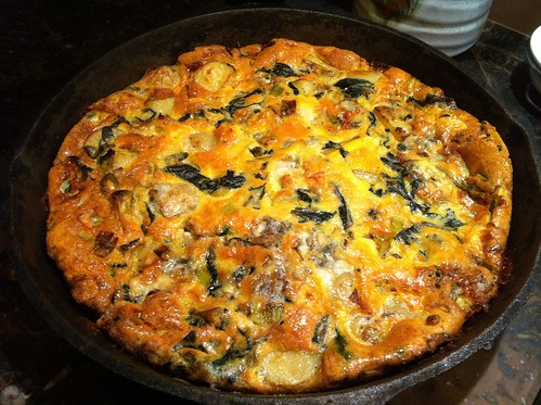 Leek, spinach and blue cheese fritatta