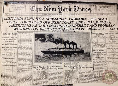 New York Times Lusitania Sinking