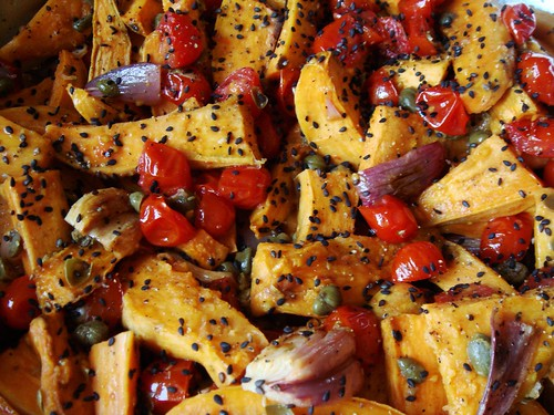 Roasted Sweet Potatoes with Capers Vinaigrette