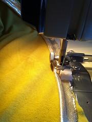 sewing, yellow, close-up,