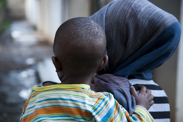 Lemlem, 20-years-old, with her 18-month-old son at the Saris Health Center in Addis Ababa