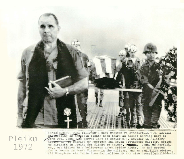 1972 Body of John Paul Vann Carried to Aircraft at Pleiku