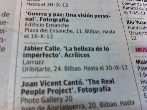 Recorte Prensa EL CORREO, expo JabierCalle by LaVisitaComunicacion