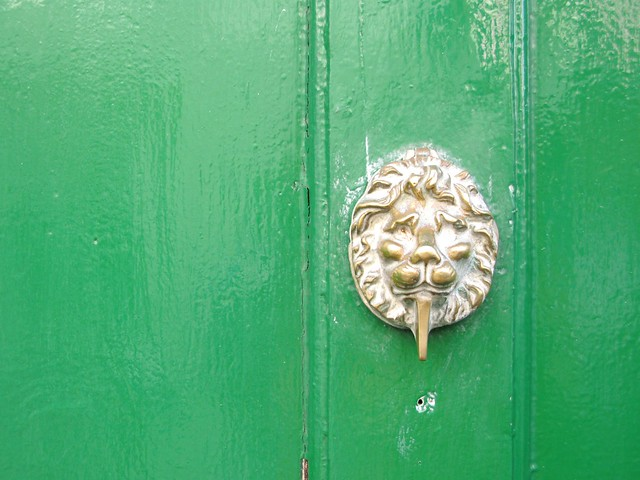 A Lion's head doorknocker from Whitby... love the green and brassy gold together! | Emma Lamb