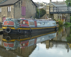 Short Boat in the Leeds and Liverpool Canal at Gallows Bridge, Shipley