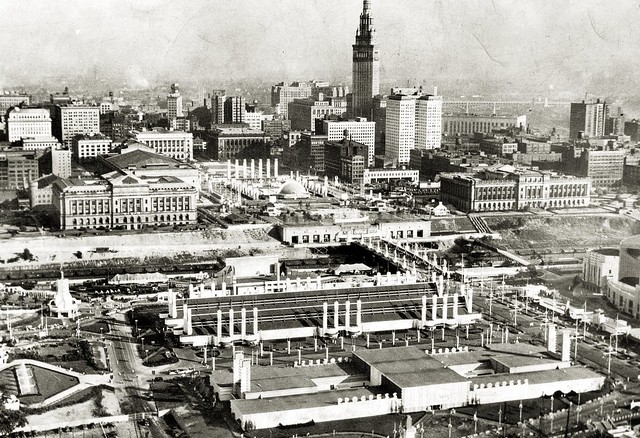 Aerial view of Downtown Cleveland and the Great Lakes Exposition