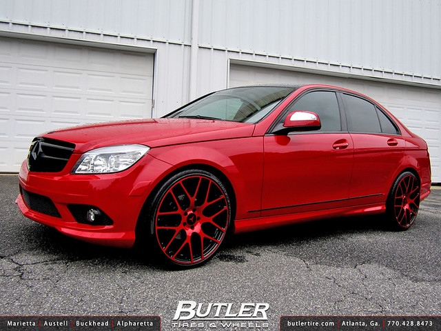 Butler tire shows off a mercedes benz c300 doing donuts for Rims for mercedes benz c300