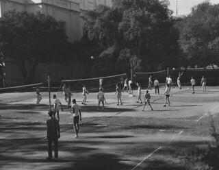 Outdoor volleyball behind Bridges Auditorium in 1957
