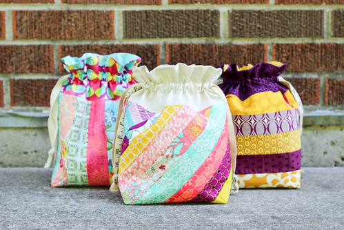 Striped Drawstring Bags by Jeni Baker