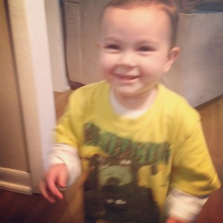 Oh my word, if that face doesn't say pleased as punch, I don't know what does! Let alone Isaac's toys Ezra insisted on putting on Isaac's JD shirt. #boymama #itrunsinthefamily