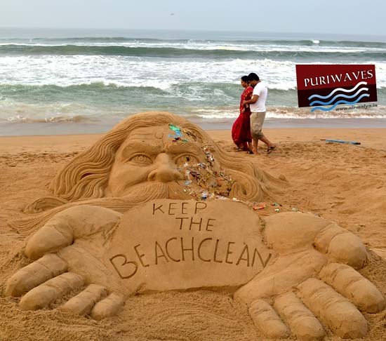 Sand Art 'Keep the Beach Clean' at Puri