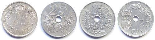 25 Céntimos de 1925 - 1937: Reverso