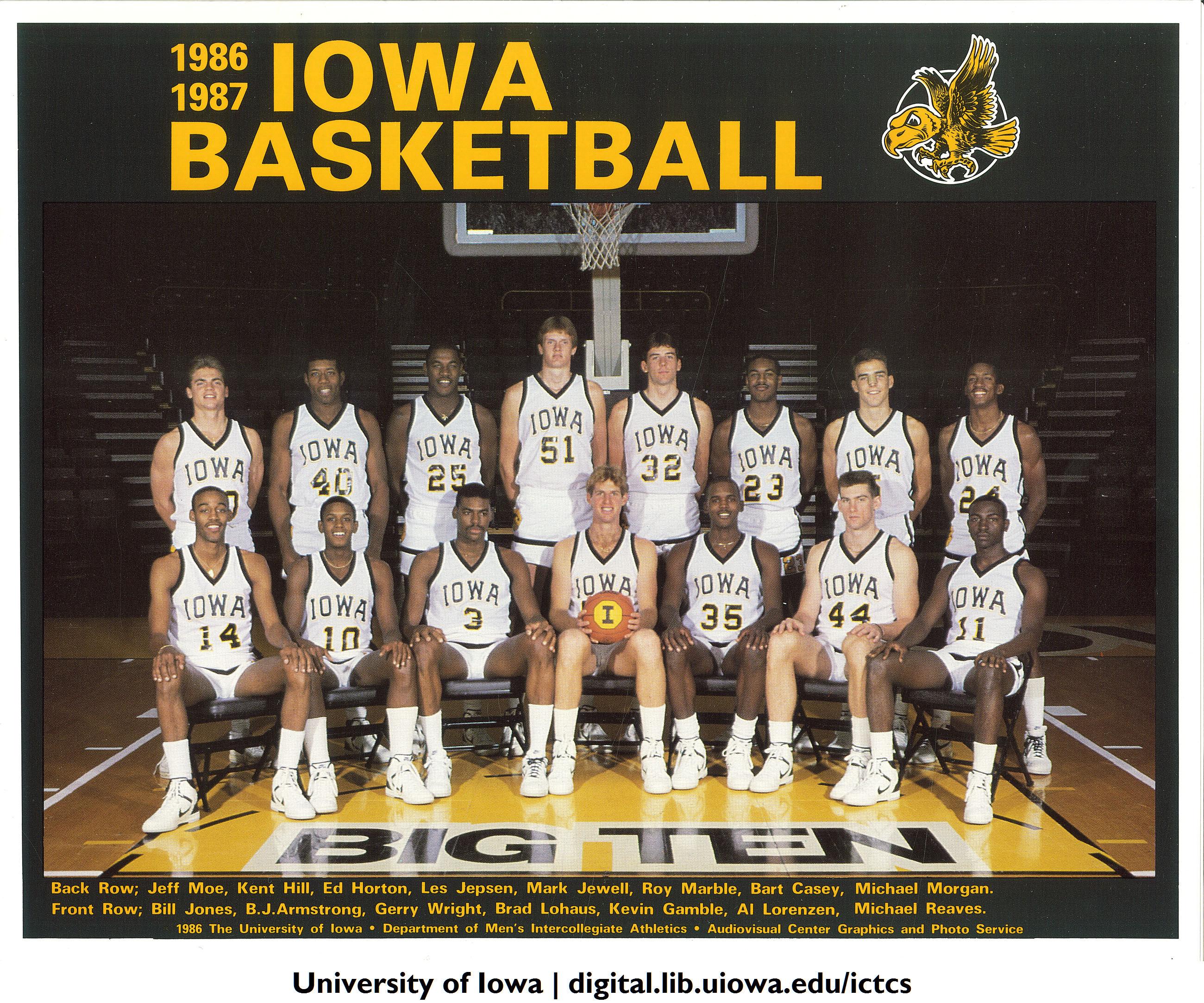 1986 1987 Iowa Basketball Team The University Of Iowa 19