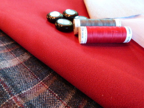 100% Wool Suiting, Crepe, Vintage Buttons, Interfacing, Mettler Thread