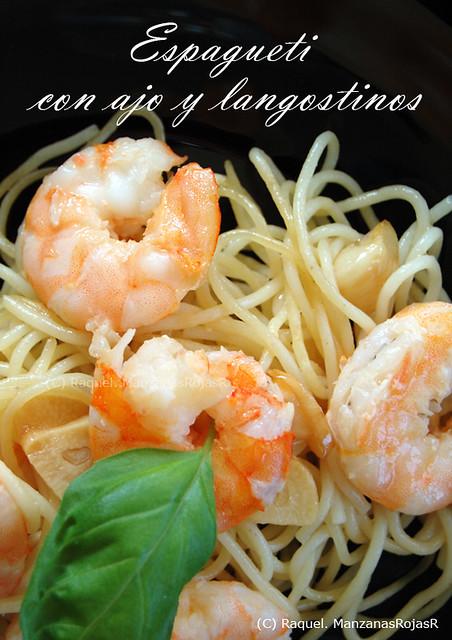 Espagueti con ajo y langostinos mesa para dos manzanas for Espaguetis para dos