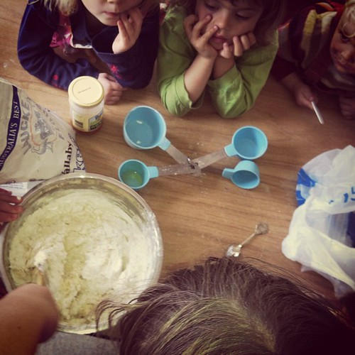 Serious bread making action at co-op #naturallearners #coop #unschooling #bread