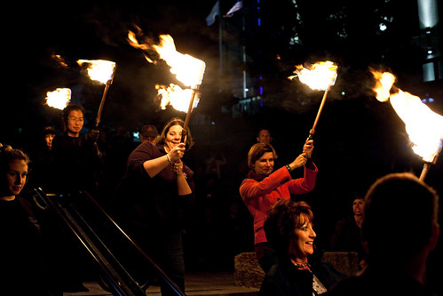 20120930. Partial WaterFire for our annual conference. Can you spot me and my look of utter terror carrying that torch?
