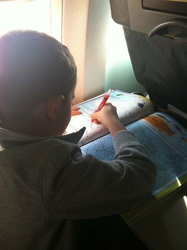 Evan had the most fun with his sticker book on the plane. Gotta love direct Westjet flights.