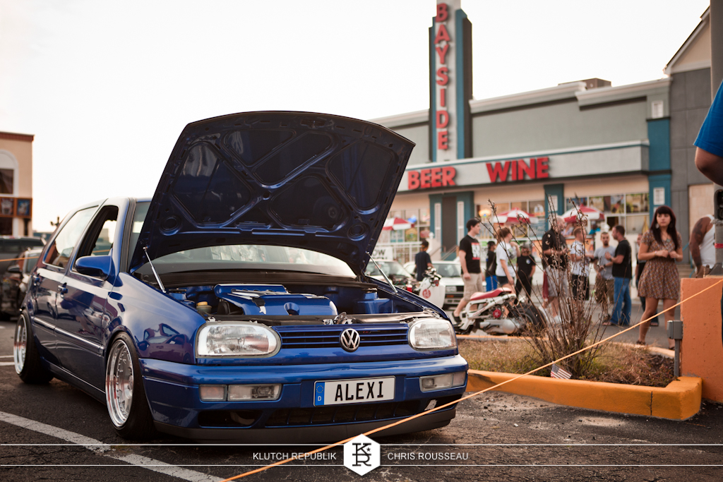 alexi vw mk3 blue golf gti 2.0 aba abf fifteen 52 wheels  at h2oi 2012 3pc wheels static airride low slammed coilovers stance stanced hellaflush poke tuck negative postive camber fitment fitted tire stretch laid out hard parked seen on klutch republik