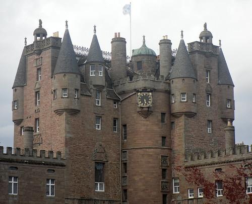 Glamis Castle turrets+flag