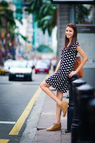 無料写真素材, 人物, 女性  アジア, ワンピース・ドレス, マレーシア人, 街角