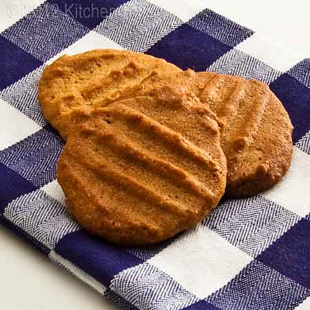 Peanut Butter Cookies on Blue-Checked Napkin