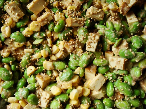 Sweet Summer Corn, Edamame, Smoked Tofu Salad with Walnut-Miso Dressing