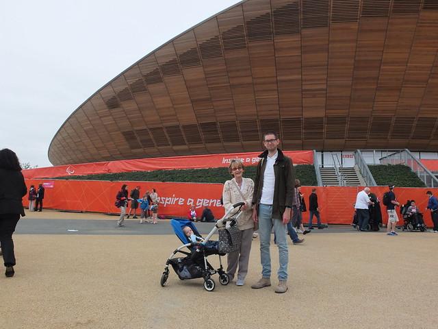Fergus, mum and me standing outside the Velodrome