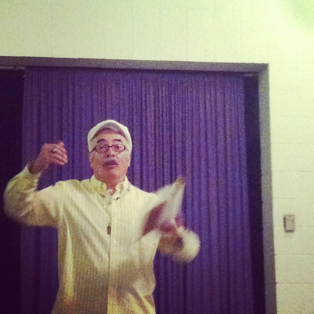 Juan Felipe Herrera in action, super taco-ing it up
