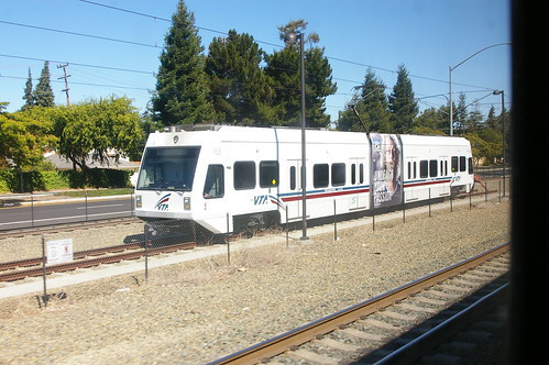 Santa Clara Valley Transportation Authority light rail Low-Floor LRV near Mountain View Station, Mountain View, Santa Clara, California, United States Aug 29