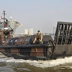 Landing Craft from HMS Ocean on the River Thames, London