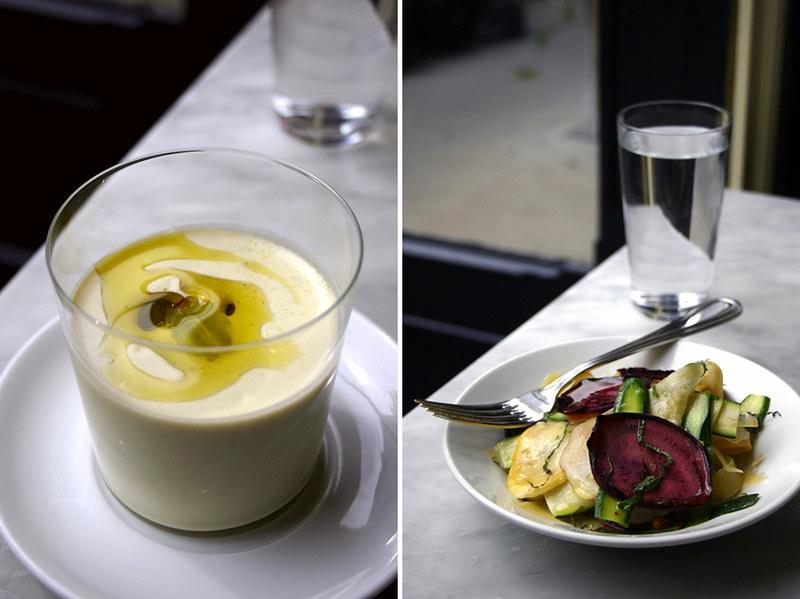 gazpacho & zucchini salad, prune, nyc